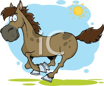 cartoon image of a horse running under blue skies and sunshine in a vector clip art illustration