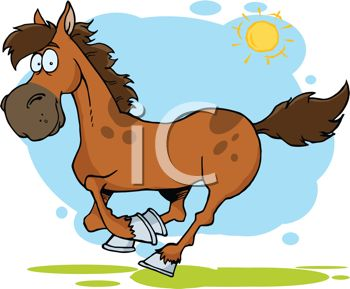 Cartoon Image of a brown horse running under blue skies and sunshine in a vector clip art illustration