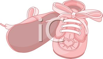 image of a pink pair of infant shoes in a vector clip art illustration