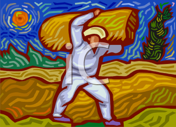 image of a man carrying a bale of wheat in a wheat field