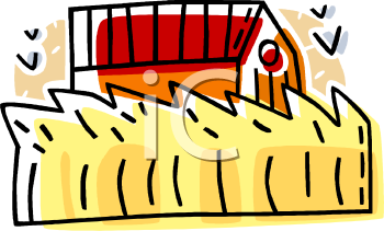 image of a wheat baler baling wheat in a wheat field in a vector clip art illustration