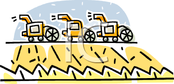 image of machines harvesting wheat fields in a vector clip art illustration