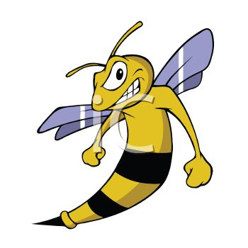 clip art image of an angry bee with blue wings grinding his teeth in a vector clip art illustration