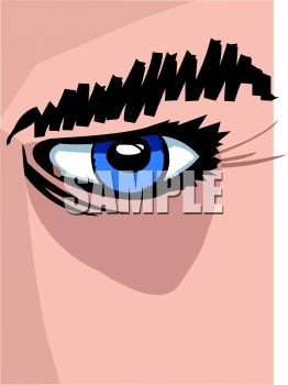 Clip art illustration of a blue human eye in a vector clip art illustration