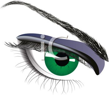 clip art illustration of a green human eye in a vector clip art illustration