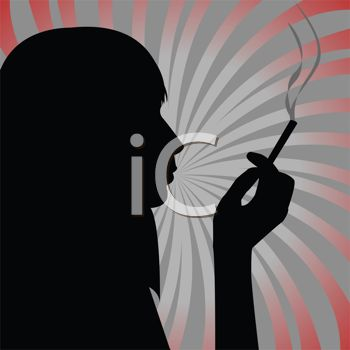 Silhouette of a woman smoking a cigarette