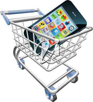 Smartphone or cellphone in a shopping cart indicating mobile online shopping