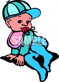 Picture of a toddler playing on the floor sucking on a pacifier in a vector clip art illustration
