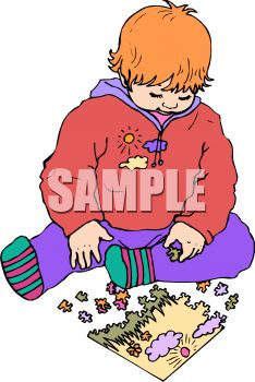 Picture of a toddler putting a puzzle together in a vector clip art illustration