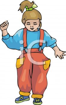 Picture of a toddler standing and thinking in a vector clip art illustration