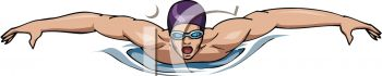 Picture Of a man swimming in a competition in a clip art illustration