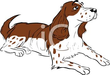 Picture of a cocker spaniel laying down in a vector clip art illustration