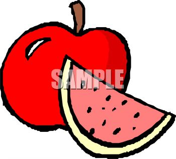 Picture Of A Red Apple And Cut Watermelon In A Vector Clip Art Illustration