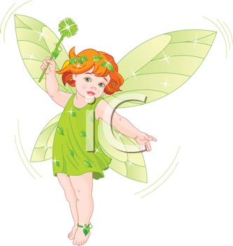 Picture of an adorable child fairy waving her wand wearing all green in a vector clip art illustration