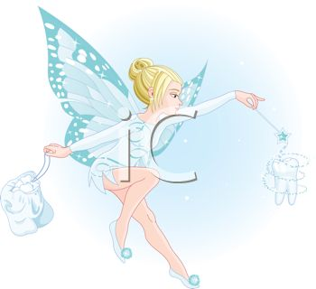 picture of a tooth fairy in blue colors waving her wand, making a tooth form in a vector clip art illustration