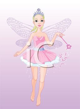 picture of an adult fairy waving her wand in a vector clip art illustration