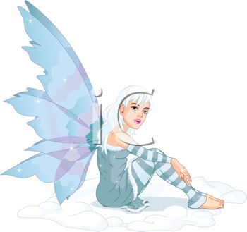 picture of a fairy with white hair wearing blue sitting down in a vector clip art illustration