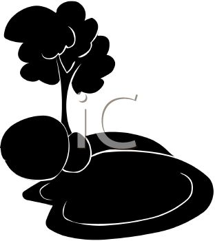 Picture of a silhouette of a pond with rocks and a tree in a vector clip art illustration