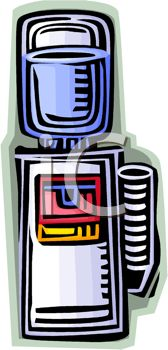 Colorful drawing of an office water cooler
