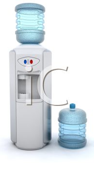 Realistic Drawing of an Office Water Cooler and a Bottle of Water