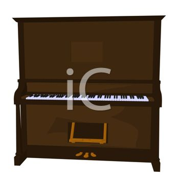 picture of a brown piano on a white background in a vector clip art illustraiton