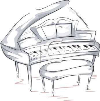 picture of a drawing of a piano and bench in a vector clip art illustration