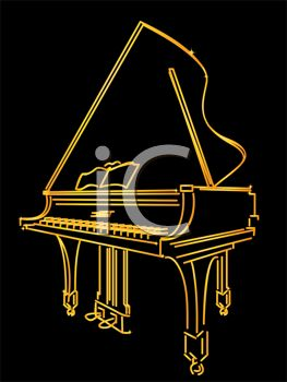 Picture Of A Silhouette of an outline of gold piano on a black background