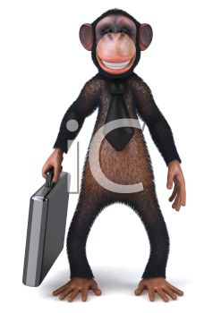 picture of a chimpanzee holding  a laptop in a vector clip art illustraiton