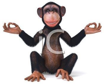 picture of a chimpanzee sitting down meditating in a vector clip art illustration