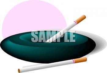 Picture of an ashtray with a cigarette, and another cigarette laying on the side in a vector clip art illustration