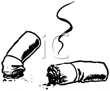 Picture of Smoldering Cigarette Butts In a Vector Clip Art ...