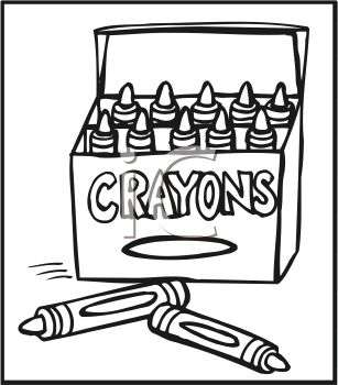 Picture of a box of crayons in a vector clip art illustration