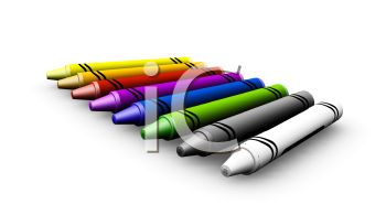 picture of a row of different colored crayons in a vector clip art illustration