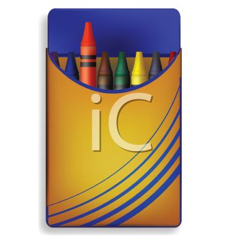 picture of a small box of crayons in a vector clip art illustration