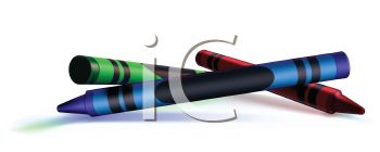 Picture Of a red, blue, and green crayon in a vector clip art illustration
