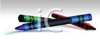 Picture of a red, green, and blue crayon in a vector clip art illustration