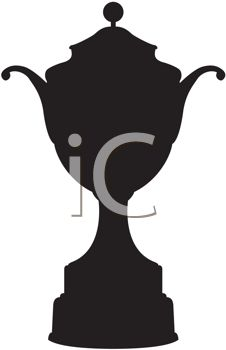 Silhouette of a trophy, the type that might be awarded to a winning athlete