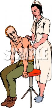 picture of a nurse listening to a man's chest in a vector clip art illustration