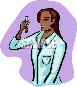 picture of a nurse looking at a test tube in a vector clip art illustration