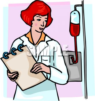 Picture of a nurse checking on her patient in a vector clip art illustration