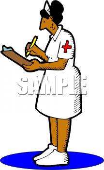 picture of a nurse writing chart notes in a vector clip art illustration
