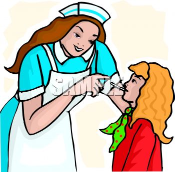 picture of a nurse checking a patient's temperature in a vector clip art illustration