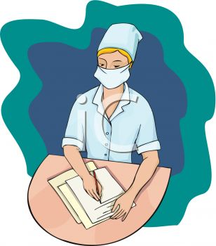 picture of a nurse writing chart notes on a patient's chart in a vector clip art illustration