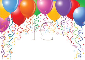 picture of a colorful array of helium balloons with streamers in a vector clip art illustration