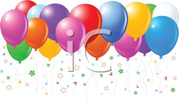 picture of an array of colorful helium balloons with streamers in a vector clip art illustration