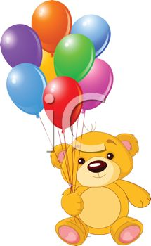 picture of a cute stuffed bear holding a colorful balloon bouquet in a vector clip art illustration