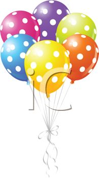 picture of helium balloons with white spots tied together in a vector clip art illustration