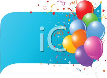 picture of colorful balloons on a blue banner with confetti in a vector clip art illustration