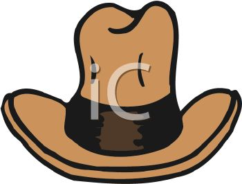 picture of a brown cowboy hat in a vector clip art illustration