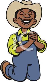 picture of a young ethnic boy wearing a cowboy hat kneeling down and Praying in a vector clip art illustration